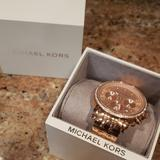 Michael Kors Jewelry | Michael Kors Rose Gold Watch | Color: Gold/Tan | Size: Os