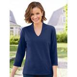 Women's Prima™ Cotton Narrow V-Neck Tee, Classic Navy Blue S Misses