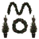 Vickerman 573693 - Lit Potted Christmas Tree, Lit Rectangle Wreath, Lit Garland Front Door Set (Set of 4) Christmas Tree Set (G188633)