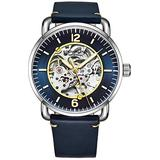 Stuhrling Original Mens Skeleton Watch - Automatic Watches for Men Self Winding Mens Dress Watch - Mens Black Leather Watch Mechanical Watch for Men