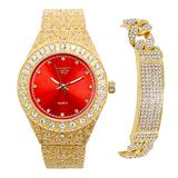 Men's Blinged Out Red Dial Watch and Cuban Bracelet Combo Set - Gold/Red