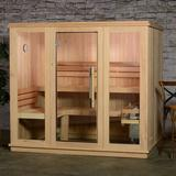 Almost Heaven Saunas Bridgeport 6 Person Traditional Steam Sauna in Cedar in Brown, Size 78.0 H x 63.0 W x 86.0 D in | Wayfair AHBPT6PRU