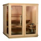 Almost Heaven Saunas Grayson 4 Person Indoor Traditional Steam Sauna in Cedar in Brown, Size 78.0 H x 71.0 W x 71.0 D in | Wayfair AHGSN4PRU