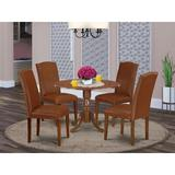 Charlton Home® Schreiner 5 - Piece Drop Leaf Solid Wood Rubberwood Dining SetWood/Upholstered Chairs in Brown, Size 29.5 H in | Wayfair