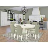 Red Barrel Studio® Silsbee 7 Piece Extendable Solid Wood Dining SetWood/Upholstered Chairs in White, Size 30.0 H in   Wayfair