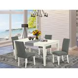 Ebern Designs Grimson 5 Piece Solid Wood Dining Set Wood/Upholstered Chairs in White, Size 30.0 H x 36.0 W x 60.0 D in   Wayfair