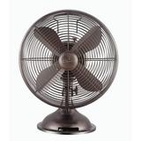 """Hunter Home Comfort Retro 17.6"""" Oscillating Table Fan in Black/Brown, Size 17.6 H x 13.3 W x 9.7 D in 