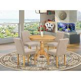Charlton Home® Schooley 5 - Piece Solid Wood Rubberwood Dining SetWood/Upholstered Chairs in Brown, Size 30.0 H x 36.0 W x 36.0 D in | Wayfair