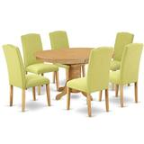 Red Barrel Studio® Silsbee 7 Piece Extendable Solid Wood Dining Set Table Color: Oak, Chair Color: Limelight, Wood/Upholstered Chairs/Solid Wood