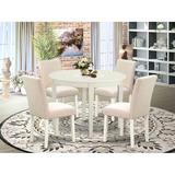 Ebern Designs Asaph 5 - Piece Solid Wood Rubberwood Dining Set Wood/Upholstered Chairs in Brown/White, Size 30.0 H x 42.0 W x 42.0 D in   Wayfair