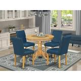 Charlton Home® Schoonover 5 - Piece Solid Wood Rubberwood Dining SetWood/Upholstered Chairs in Brown, Size 30.0 H x 36.0 W x 36.0 D in | Wayfair