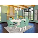 Red Barrel Studio® Simonton 7 - Piece Extendable Rubberwood Solid Wood Dining Set Wood/Upholstered Chairs in White, Size 30.0 H in | Wayfair