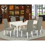 Darby Home Co Berton 7 Piece Solid Wood Rubberwood Dining Set Wood/Upholstered Chairs in White, Size 30.0 H in | Wayfair