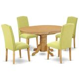 Alcott Hill® Roxanna 5 - Piece Extendable Rubber Solid Wood Dining Set Table Color: Oak, Chair Color: Limelight, Wood/Upholstered Chairs/Solid Wood