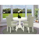 Alcott Hill® Karyn 5 - Piece Solid Wood Rubberwood Dining Set Wood/Upholstered Chairs in White, Size 30.0 H x 36.0 W x 36.0 D in | Wayfair
