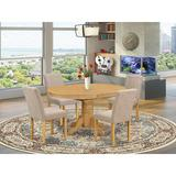 Alcott Hill® Lesa 5 - Piece Butterfly Leaf Rubberwood Solid Wood Dining Set Wood/Upholstered Chairs in Brown, Size 30.0 H in | Wayfair