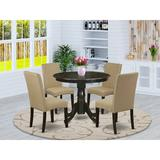 Charlton Home® Schorr 5 - Piece Solid Wood Rubberwood Dining SetWood/Upholstered Chairs in Brown, Size 30.0 H x 36.0 W x 36.0 D in | Wayfair