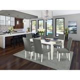 Alcott Hill® Maryellen 7 - Piece Rubber Solid Wood Dining Set Wood/Upholstered Chairs in White, Size 30.0 H x 36.0 W x 60.0 D in | Wayfair