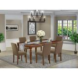 Alcott Hill® Lauri 7 - Piece Extendable Rubberwood Solid Wood Dining Set Wood/Upholstered Chairs in Brown, Size 30.0 H in | Wayfair