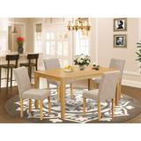 Alcott Hill® Maribeth 5 - Piece Rubberwood Solid Wood Dining Set Wood/Upholstered Chairs in Brown, Size 30.0 H x 36.0 W x 60.0 D in | Wayfair