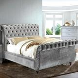 Rosdorf Park Washburn Upholstered Sleigh Bed, Upholstered/Polyester/Polyester blend/Solid Wood in Gray, Size Queen | Wayfair