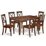 Alcott Hill® Gilda 7 - Piece Rubber Solid Wood Dining Set Wood in Brown, Size 30.0 H x 36.0 W x 60.0 D in | Wayfair