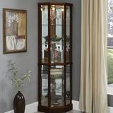 "Charlton Home® Franklyn Corner Lighted Curio Cabinet, Wood in Walnut, Size 18.5"" L x 23.5"" W x 70"" H | Wayfair 68D29C828A104DA48D3CD28FB722B538"