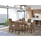 Darby Home Co Berton 7 Piece Solid Wood Rubberwood Dining Set Wood/Upholstered Chairs in Brown, Size 30.0 H in | Wayfair