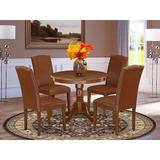 Alcott Hill® Pamala 5 - Piece Solid Wood Rubberwood Dining SetWood/Upholstered Chairs in Brown, Size 30.0 H x 36.0 W x 36.0 D in | Wayfair