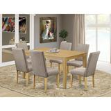 Alcott Hill® Maryellen 7 - Piece Rubber Solid Wood Dining Set Wood/Upholstered Chairs in Brown, Size 30.0 H x 36.0 W x 60.0 D in | Wayfair