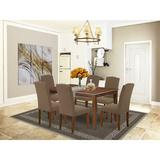 Alcott Hill® Rosalinda 7 - Piece Solid Wood Dining Set Wood/Upholstered Chairs in Brown, Size 30.0 H x 36.0 W x 60.0 D in | Wayfair