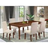 Alcott Hill® Mariann 7 - Piece Extendable Rubber Solid Wood Dining Set Wood/Upholstered Chairs in Brown, Size 30.0 H in | Wayfair