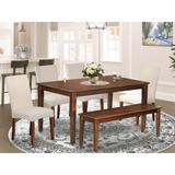 Alcott Hill® Melva 6 - Piece Rubber Solid Wood Dining Set Wood/Upholstered Chairs in Brown, Size 30.0 H x 36.0 W x 60.0 D in | Wayfair