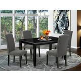 Alcott Hill® Teena 5 - Piece Rubberwood Solid Wood Dining Set Wood/Upholstered Chairs in Black, Size 30.0 H x 36.0 W x 60.0 D in   Wayfair