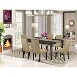 Alcott Hill® Lyn 7 - Piece Extendable Solid Wood Dining Set Wood/Upholstered Chairs in Brown, Size 30.0 H in | Wayfair