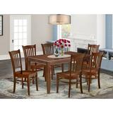 Alcott Hill® Lavonne 7 - Piece Solid Wood Dining Set Wood/Upholstered Chairs in Brown, Size 30.0 H x 36.0 W x 60.0 D in | Wayfair