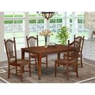 Alcott Hill® Marcie 5 - Piece Rubberwood Solid Wood Dining Set Wood in Brown, Size 30.0 H x 36.0 W x 60.0 D in | Wayfair