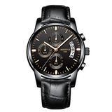 NIBOSI Watches Men Waterproof Chronograph Black Leather Analog Quartz Watch Men Fashion Dress Business Wristwatch