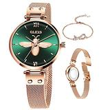 Womens Stainless Steel Mesh Watch,Small Rose Gold Watch for Lady,Classic Waterproof Women Watches Japanese Quartz Movement Round Watch,Casual Fashion Ladies Wrist Watches Luxury Dress Wrist Watch