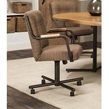 Caster Chair Company Peyton Swivel Tilt Caster Arm Chair in Walnut Tweed Fabric