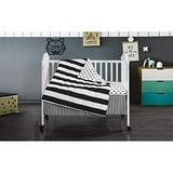 3 Piece Black White Stripe Baby Crib Bedding Set Cute Polka Dots Crib Bedding for Girls Boys Nursery Bed Set Stylish Modern Style Quilt, Bed Skirt, Fitted Sheet, Soft Polyester