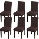 Turquoize Dining Room Chair Covers Stretch Chair Covers for Dining Room 6 Pack Dining Chair Slipcover Parsons Kitchen Chair Covers Removable Chair Protector Covers for Dining Room, Hotel (6, Brown)