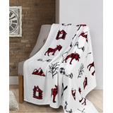 Safdie & Co. Inc. Throws multi - White & Red Signature Lodge Ribbed Flannel Throw