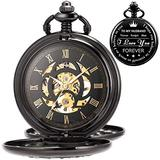 Mechanical Pocket Watches Gifts for Husband Skeleton Pocket Watch Engraved Pocket Watch Personalized Engraving Laser Saying Wedding Gift