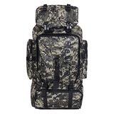 JAD@ Waterproof Hiking Backpack, Nylon Rucksack Outdoor Sport Travel Trekking Running Mens 70L Backpack (Color : Black Camo)