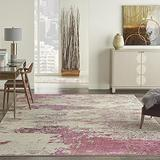 """Nourison Sublime Modern Abstract Area Rug 7'10"""" x 10'6"""" (8x11) Ivory/Pink, 7 Feet 10 Inch x 10 Feet 6 Inch, Feet"""