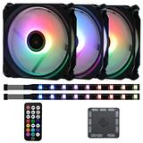 DS Axis Rainbow LED Addressable RGB 120MM Case Fan with Controller for PC Cases, ATX, M-ATX Tower (3PACK RGB Fans, 2PCAK LED Strips, E Series)