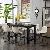 Roundhill Furniture Bronco Antique Wood Finished Counter Height Dining Set: Table and Six Chairs, White