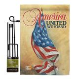 Breeze Decor America United Americana Patriotic Impressions 2-Sided Polyester 18.5 x 13 in. Flag Set in Beige | Wayfair