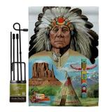Breeze Decor Native American Americana Patriotic Impressions 2-Sided Polyester 19 x 13 in. Flag Set in Gray | Wayfair